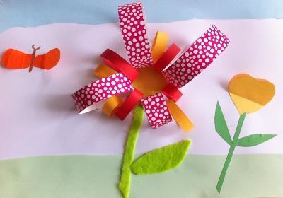 collage en relief fleur atelier enfant