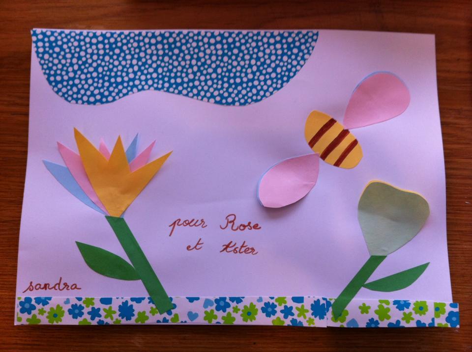 fleurs abeille collage atelier enfant